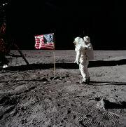 Buzz Aldrin salutes the U.S. Flag