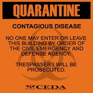 Sign quarantine orange display