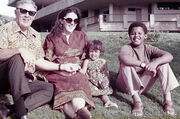 Ann Dunham with father and children