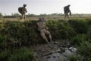 U.S. soldiers advancing through Southern Zimbabwe
