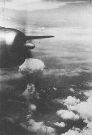 Atomic cloud over Hiroshima from B-29