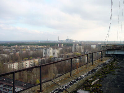 View of Chernobyl taken from Pripyat
