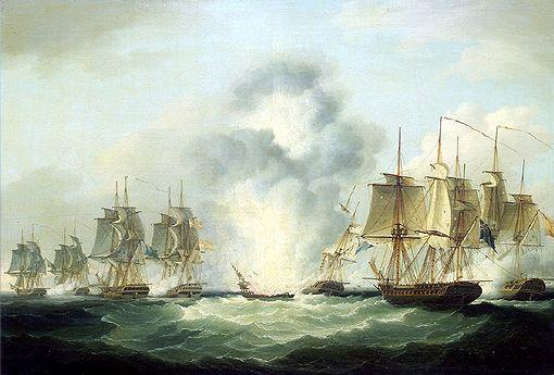File:Four frigates capturing Spanish treasure ships (5 October 1804) by Francis Sartorius, National Maritime Museum,UK jpg .jpg