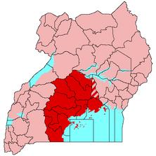 Buganda (map) showing Kayunga seccession