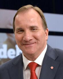 Stefan Löfven efter slutdebatten i SVT 2014 (cropped)