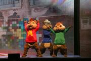 The Chipmunks on stage