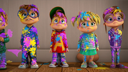 Chipmunks and Chipettes Covered In Paint