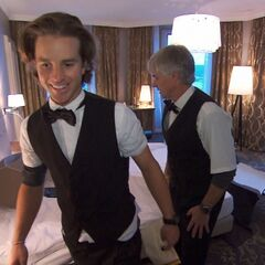 Dave & Connor clean up a Hotel Room in Leg 9.