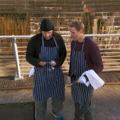 After competing the <i>Tray It</i> Detour, Bates &amp; Anthony are told to go the Pit Stop.