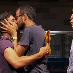 Josh & Brent celebrate after winning The Amazing Race 21.