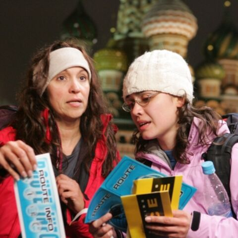 Wanda & Desiree at St. Basil's Cathedral in Russia, the midpoint for Leg 3.