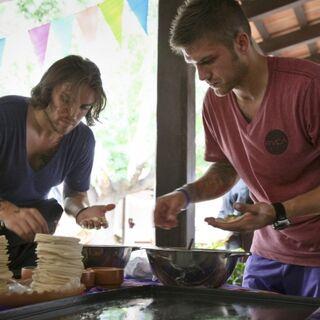 Elliot & Andrew making Empanadas in Leg 1.