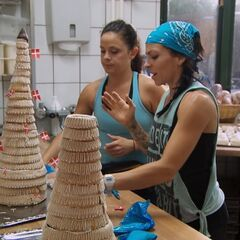 Kym &amp; Alli doing the first part of the <i>Wedding Cake</i> Detour in <a href=