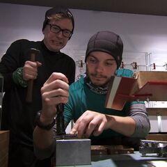 Tyler &amp; Korey doing the <i>Bench Work</i> Detour in <a href=