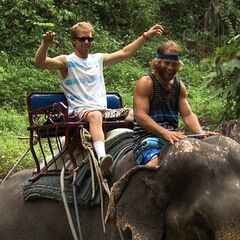Andy &amp; Tommy riding an elephant in <a href=