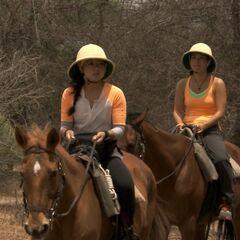 Pam & Winnie on horseback in Botswana.