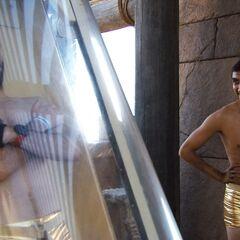 Brodie & Kurt prepare to go down the waterslide.
