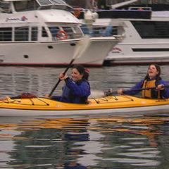 Lucy & Emilia paddling a Kayak in Vancouver, Canada on Leg 9.