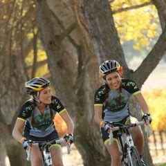 Misa &amp; Maiya biking to the <a href=