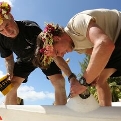 Dave &amp; Connor working on their Outrigger Canoe in <a href=