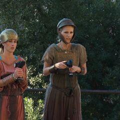 Caroline &amp; Jennifer dressed up for the <i>Charioteer</i> Detour.