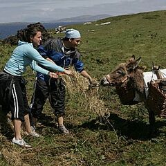 Ari & Staella having extreme difficulties getting their donkey to move.