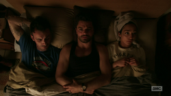 Jesse, Cassidy, and Tulip awkwardly share a bed
