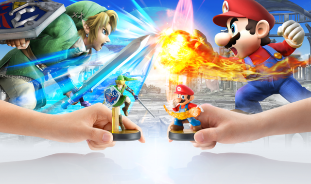 File:Super Smash Bros Amiibos Mario and Link Battling.png
