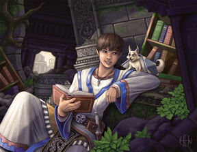 Young mage reading
