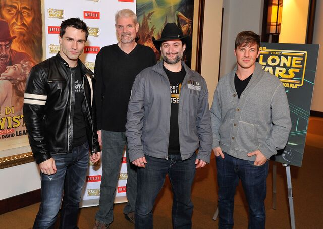 File:Tom Kane with Dave Filoni, Matt Lanter, & Sam Witwer.jpg