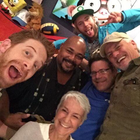File:Rob Paulsen with Kevin Michael Richardson, Andrea Romano, Seth Green, Greg Cipes, & Sean Astin.jpg