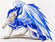 Ble and white wolf with wings