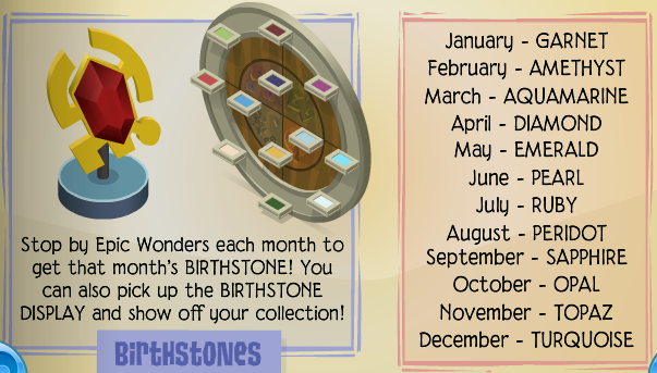 Birthstones Collection Animal Jam Wiki – Birthstone Chart Template