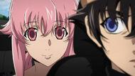 Yuno staring at cautious Yukiteru