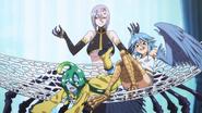 Suu and Papi swinging on Rachnera's Hammock (Monster Musume Ep08)