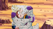 Frieza grabs goten around the arms
