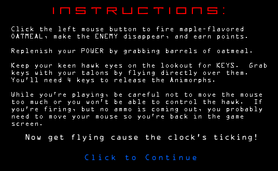Hawk rescue intro screen instructions