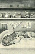 Fluffer McKitty comforting Melissa Chapman The Visitor Japanese illustration
