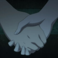 Kouichi and Mei hold hands