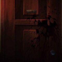Izumi and Takako's room, covered in Takako's blood.