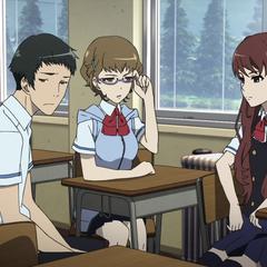 Takako with Junta and Izumi as the three discuss the curse.
