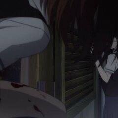Chuckling insanely, Yumi follows Mei and Kouichi onto the slippery ledge.