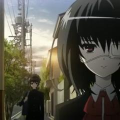 Mei and Kouichi walk home from school.