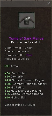 Tunic of dark malice