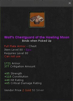 Wolfs chestguard of the howling moon