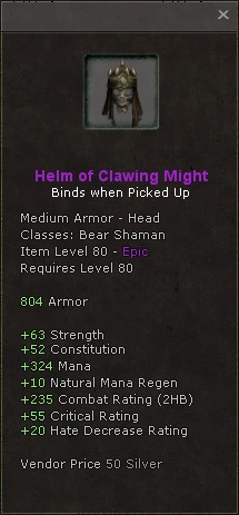 Helm of clawing might