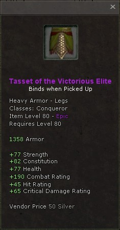 Tasset of the victorious elite