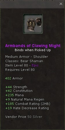 Armbands of clawing might