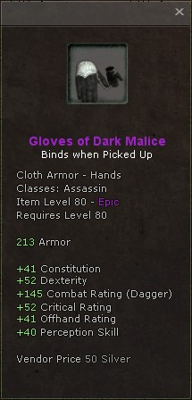 Gloves of dark malice
