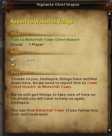101 Report to Waterfall Village
